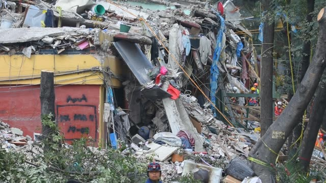 rescuers are seen during their rescue efforts in the rubble of the multifamily apartments on tlalpan avenida due to the earthquake that struck mexico... - avenida stock videos & royalty-free footage