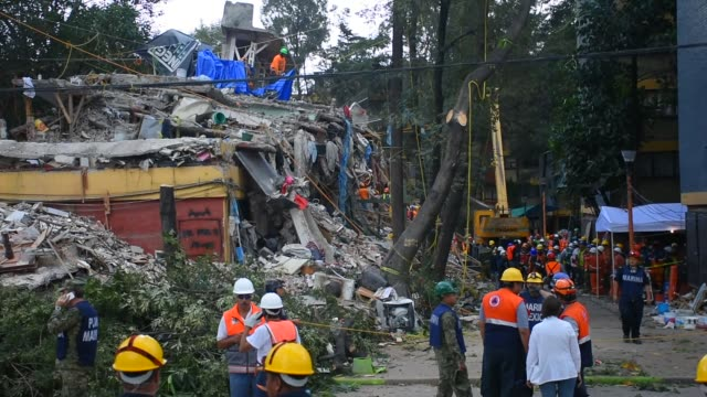 vídeos de stock, filmes e b-roll de rescuers are seen during their rescue efforts in the rubble of the multifamily apartments on tlalpan avenida due to the earthquake that struck mexico... - terremoto