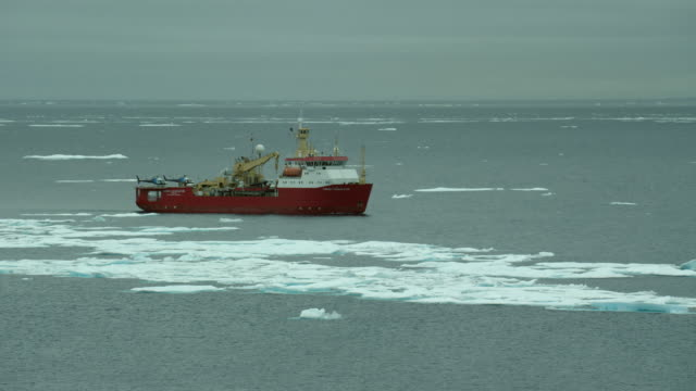 research boat in icy arctic waters - ernest shackleton stock videos & royalty-free footage