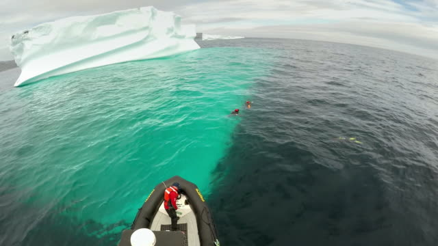 research scientists observe an iceberg, canada - risk stock videos & royalty-free footage