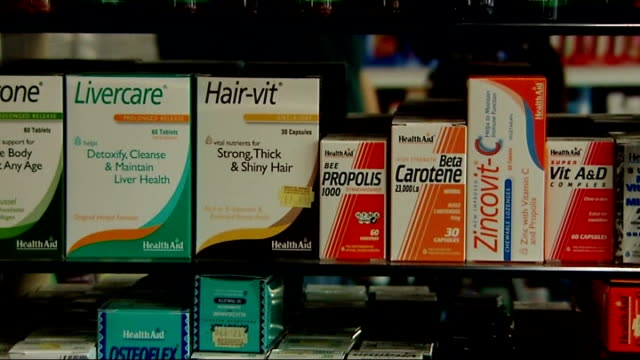 Research suggests vitamin supplements may increase risk of death London INT Close Shots of packs of vitamin supplements on shelf Close Shot Pack of...