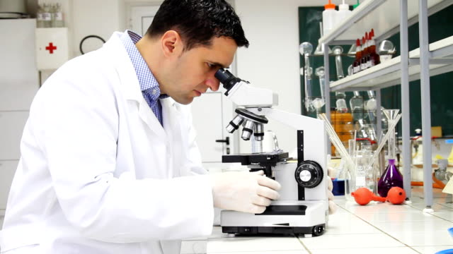 Researcher looking into a microscope in lab.