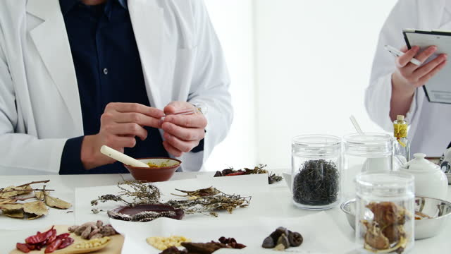 vídeos de stock e filmes b-roll de researcher of oriental medicine is studying chinese medicine. - acupuntura