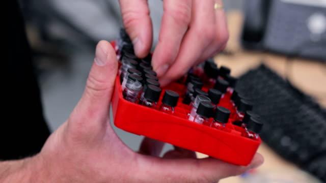 Researcher Sorting Scientific Samples in Plastic Sample Organizer