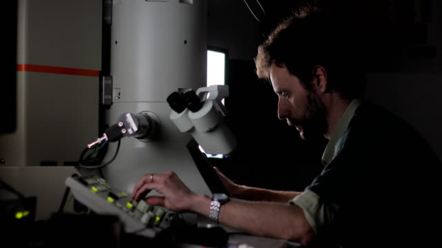 researcher using field emission electron microscope to examine scientific sample - biochemistry stock videos & royalty-free footage