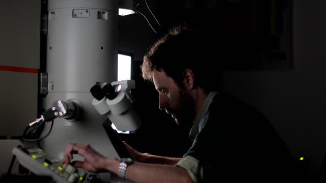 researcher using field emission electron microscope to examine scientific sample - microscopio elettronico a scansione video stock e b–roll