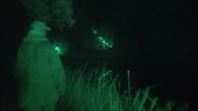 vídeos y material grabado en eventos de stock de pan researchers with flashlights searching in the night time woods / madagascar - linterna