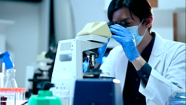 researchers working in a research facility. he looking through a microscope. - chemistry stock videos & royalty-free footage