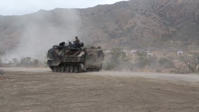 reserve marines from 4th tank battalion 4th marine division conducting annual training on camp pendleton calif for fiscal year 2014 training included... - amphibious vehicle stock videos & royalty-free footage