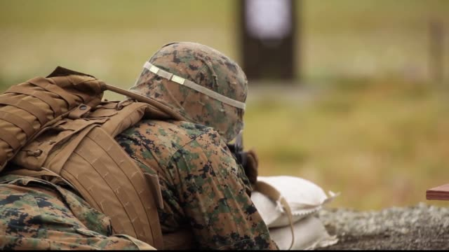 reserve marines with 1st and 3rd battalion, 23rd marine regiment competing in the 2018 4th marine division super squad competition, conduct a... - firing squad stock videos & royalty-free footage