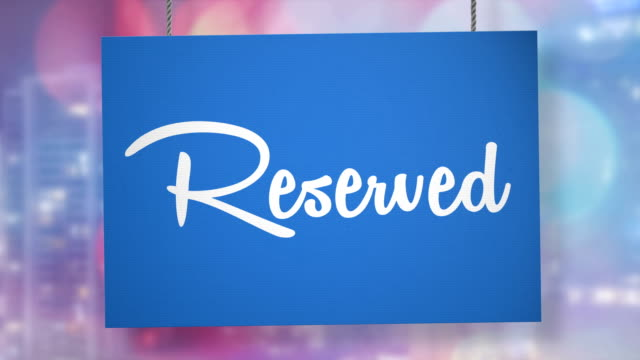 reserved sign hanging from ropes. luma matte included so you can put your own background. - entrance sign stock videos & royalty-free footage