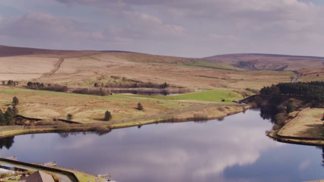 reservoirs amid lancashire farmland - drone shot - lancashire stock videos & royalty-free footage