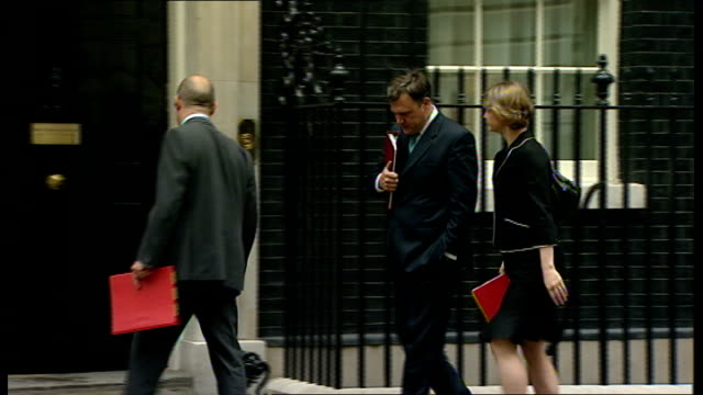 arrivals ed balls mp jim knight mp and yvette cooper mp arriving together / david miliband mp arriving / ben bradshaw mp arriving on foot - first occurrence stock videos & royalty-free footage