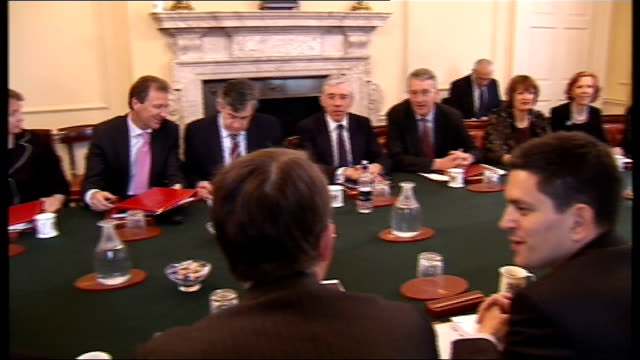 stockvideo's en b-roll-footage met general views england london downing street int empty cabinet room and meeting table photography *** gordon brown mp seated at meeting table... - peter mandelson
