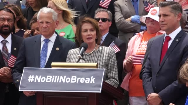 a resident of the district of columbia speaks up after conclusion of a press briefing to call on house speaker paul ryan to call up firearms... - nancy pelosi stock videos and b-roll footage