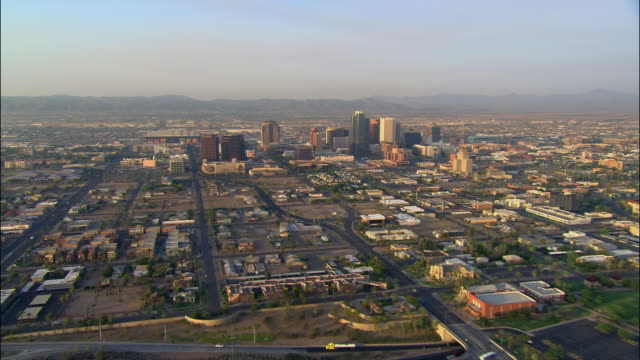 aerial, residential area and downtown, phoenix, arizona, usa - arizona stock-videos und b-roll-filmmaterial