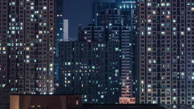 vídeos y material grabado en eventos de stock de zona residencial t/l por la noche / pekín, china - complejo de viviendas