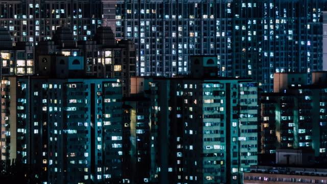 t/l pan wohngebiet bei nacht / peking, china - stromnetz stock-videos und b-roll-filmmaterial