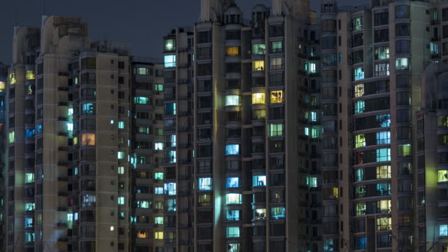 t/l cu ha zo residential area at night, beijing - street light stock videos & royalty-free footage