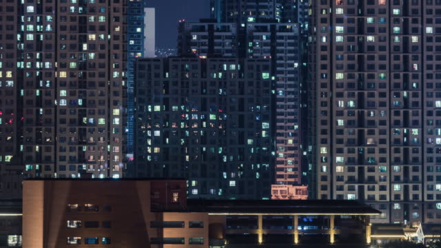 t/l ws ha tu residential area at night / shijiazhuang, hebei - tall high stock videos & royalty-free footage