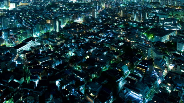 T/L WS HA Residential area at night, Tokyo, Japan