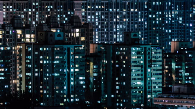 t/l zi residential area at night - beijing stock videos & royalty-free footage