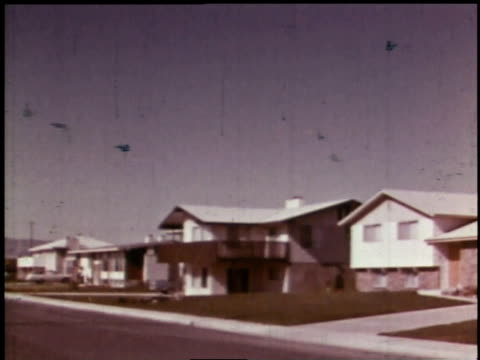 1966 montage residential area, homes, buildings, and people / richland, washington, united states - washington state stock videos and b-roll footage