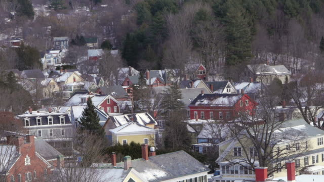 Residential area, residential houses, rooftops, snow, Montpelier, Vermont