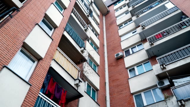residential building downtown - washing line stock videos & royalty-free footage
