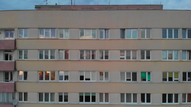 vídeos de stock e filmes b-roll de residential building in the typical eastern european style of the late 20th century is seen in the mokotow district of warsaw, poland on april 26,... - eastern european culture