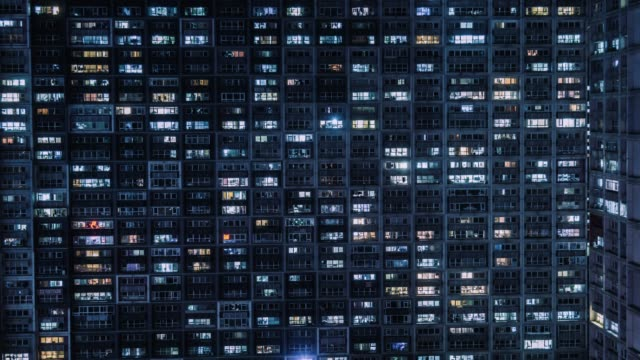 t/l ha tu residential building, windows twinkling at night / beijing, china - facade stock videos & royalty-free footage