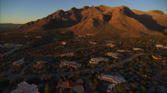 AERIAL Residential district and mountain range, Tucson, Arizona, USA