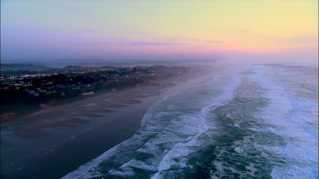 aerial residential district at pacific coast, sunset, newport, oregon, usa - newport oregon stock videos & royalty-free footage
