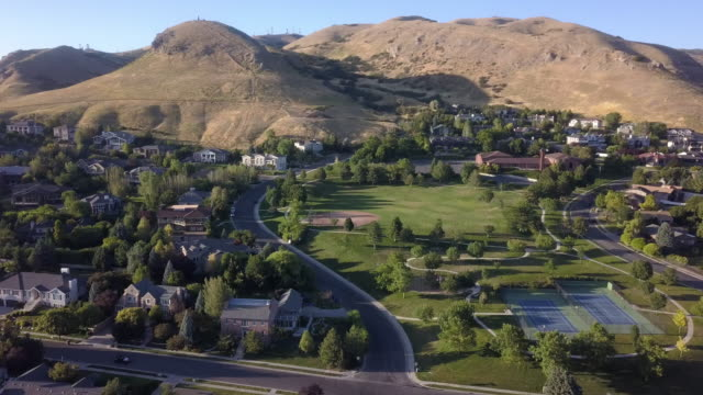 residential district in northern salt lake city near the utah state capitol building at dusk - salt lake city stock videos & royalty-free footage