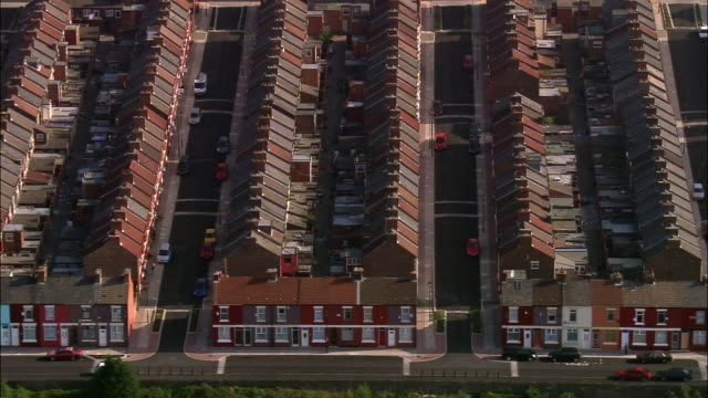 aerial, residential district, liverpool, england - liverpool england stock videos & royalty-free footage