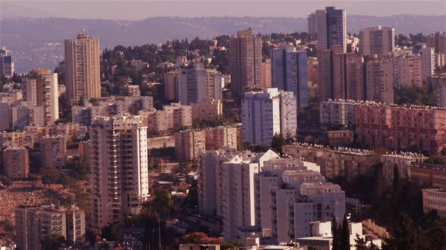 residential high rise buildings in haifa - haifa video stock e b–roll