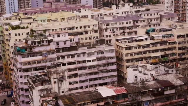 residential high rise buildings in mongkok, kowloon, hong kong. - spoonfilm stock-videos und b-roll-filmmaterial