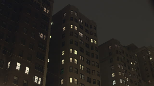 ws residential highrise night - flat stock videos & royalty-free footage