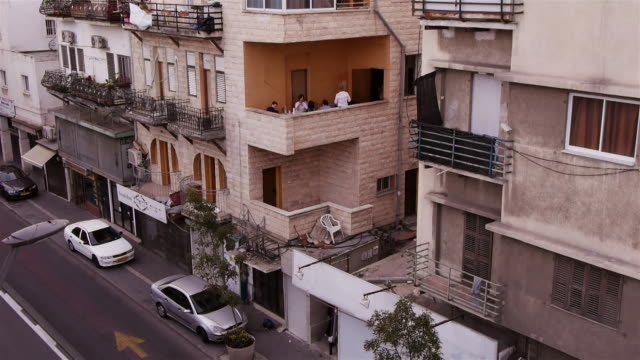 residential house in haifa, with people sitting on balcony - haifa stock videos & royalty-free footage