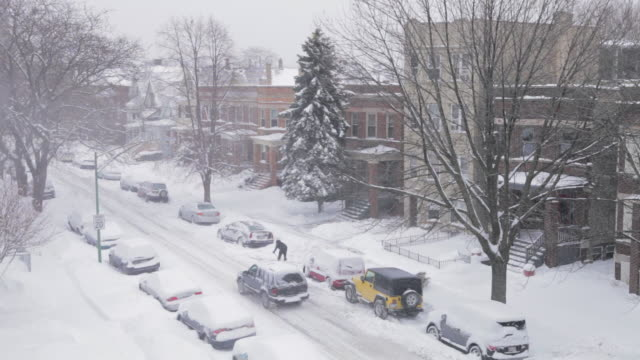 WS HA Residential neighborhood covered in snow
