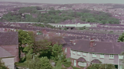 1967 pan residential neighborhood / handsworth, west midlands, england - handsworth stock videos & royalty-free footage