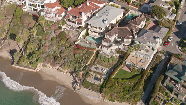residential neighborhood in laguna beach, ca - drone shot - laguna beach california stock videos & royalty-free footage