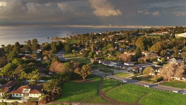 residential neighborhood in palos verdes - aerial shot - palos verdes stock videos & royalty-free footage