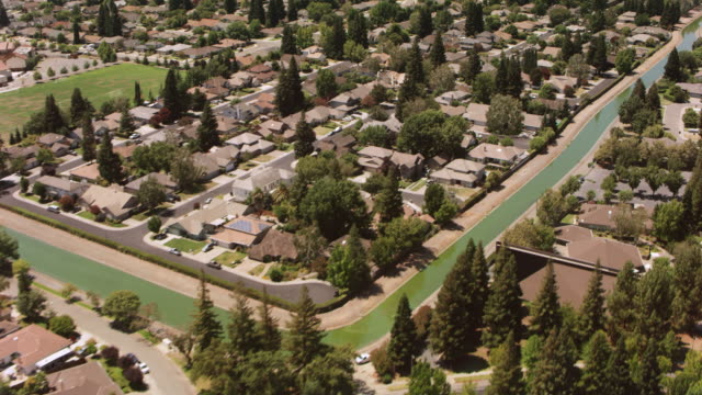 aerial residential neighborhood in sacramento, california - sacramento stock videos & royalty-free footage