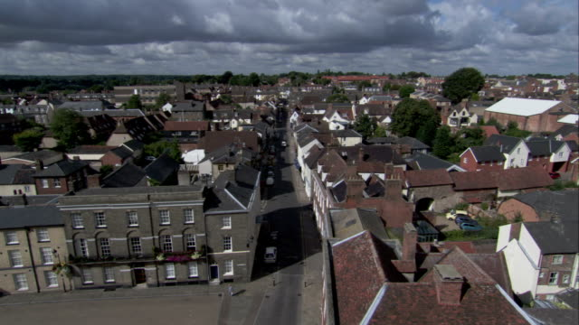 residential neighborhoods fill the quaint english town of bury st edmunds. available in hd. - bury st edmunds stock videos & royalty-free footage