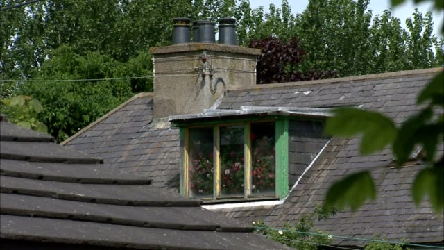 residential roof w/ dormer window chimney w/ flue caps covers - dormer stock videos and b-roll footage