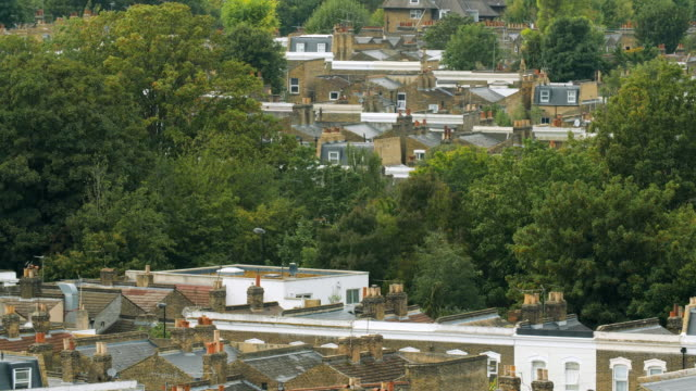 ws residential rooftops in south london - green colour stock videos & royalty-free footage