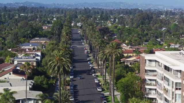 residential street in santa monica, california - drone shot - santa monica house stock videos & royalty-free footage