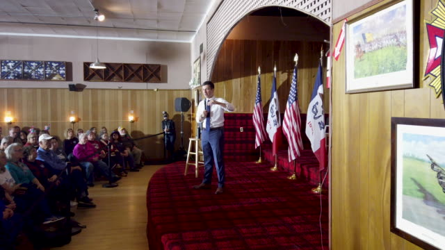 residents attend a rally with democratic presidential candidate south bend indiana mayor pete buttigieg at the vfw club on november 04 2019 in algona... - veterans of foreign wars of the united states stock videos & royalty-free footage