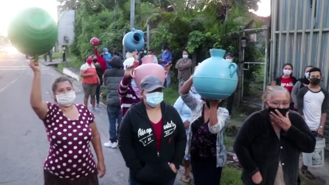 residents of a village near the capital of el salvador gathered on a road on thursday to protest against the government over a lack of drinking water... - pan american highway stock videos & royalty-free footage